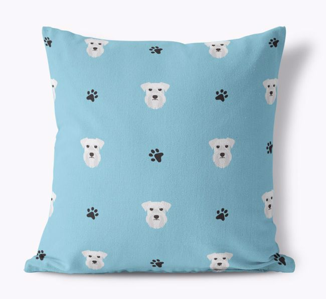 '{breedCommonName} And Paw Print Pattern' - Personalised Canvas Cushion