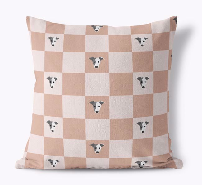 'Checkered {breedCommonName} Pattern' - Personalised Canvas Cushion