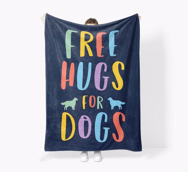 'Free Hugs' - Personalised Sherpa Fleece Blanket with {breedFullName} Silhouette