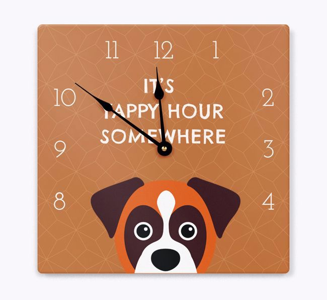 'Yappy Hour' - Personalized Wall Clock with {breedFullName} Icon