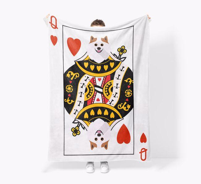 'Queen of Hearts' - Personalized {breedFullName} Blanket: Premium Sherpa Fleece
